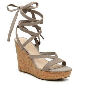 Guess Treacy Lace Up Strappy Cork Wedge Sandals 9